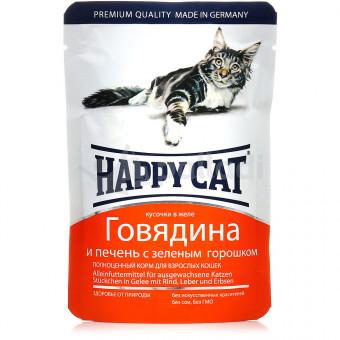 HAPPY CAT / влажный корм для кошек / ГОВЯДИНА / ПЕЧЕНЬ / ЗЕЛЕНЫЙ ГОРОШЕК