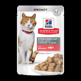 HILL'S / SCIENCE PLAN / STERILISED  CAT / влажный корм для взрослых кошек / ЛОСОСЬ