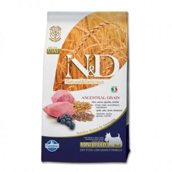FARMINA N&D LG / сухой корм низкозерновой для собак мелких пород / ЯГНЕНОК / ЧЕРНИКА