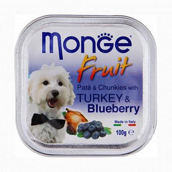 MONGE DOG / FRUIT / влажный корм для собак / ИНДЕЙКА / ЧЕРНИКА