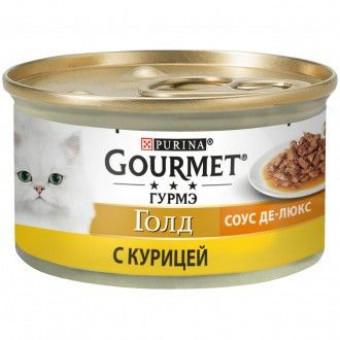 GOURMET GOLD / влажный корм для кошек / КУРИЦА / СОУС ДЕЛЮКС