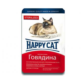 HAPPY CAT / STERILISED / влажный корм для стерилизованных кошек / ГОВЯДИНА / ЖЕЛЕ