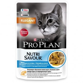 PRO PLAN / NUTRISAVOUR ADULT ELEGANT / влажный корм для кошек / ТРЕСКА / СОУС