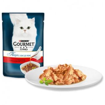 GOURMET / PERL / влажный корм для кошек / ГОВЯДИНА / СОУС ДЕЛЮКС