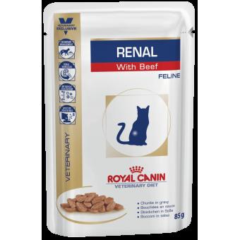 ROYAL CANIN / RENAL WITH BEEF / влажный корм для кошек / болезнь почек / ГОВЯДИНА
