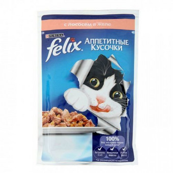 FELIX / влажный корм для кошек / ЛОСОСЬ / ЖЕЛЕ