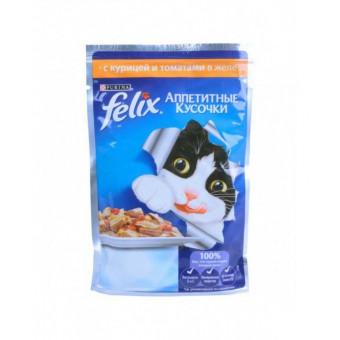 FELIX / влажный корм для кошек / КУРИЦА / ТОМАТЫ / ЖЕЛЕ