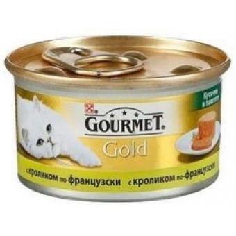 GOURMET GOLD / влажный корм для кошек / КРОЛИК ПО-ФРАНЦУЗКИ / кусочки в паштете