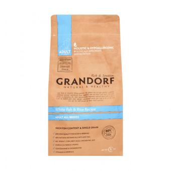 GRANDORF / сухой корм для собак всех пород / БЕЛАЯ РЫБАЯ / РИС