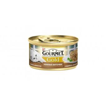 GOURMET GOLD / влажный корм для кошек / ИНДЕЙКА / ШПИНАТ / нежные биточки