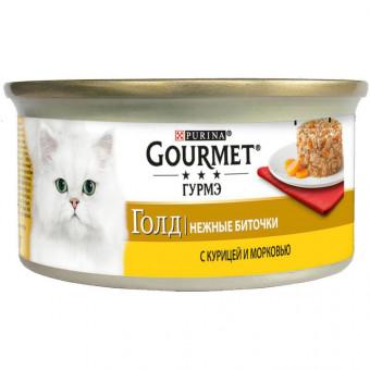 GOURMET GOLD / влажный корм для кошек / КУРИЦА / МОРКОВЬ / нежные биточки