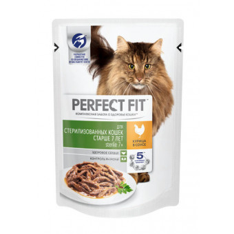 PERFECT FIT / STERILISED 7+ / влажный корм для стерилизованных  кошек 7+ / КУРИЦА