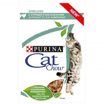CAT CHOW / ADULT / влажный корм для стерилизованных кошек / КУРИЦА / БАКЛАЖАН / СОУС