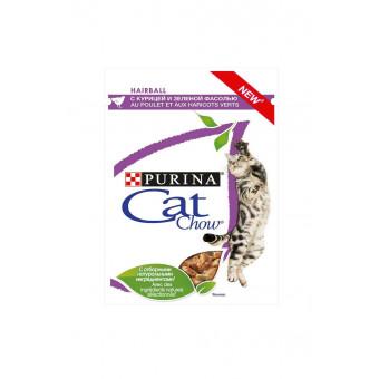 CAT CHOW / ADULT / влажный корм для кошек / вывод шерсти / КУРИЦА / ЗЕЛЕНАЯ ФАСОЛЬ / СОУС
