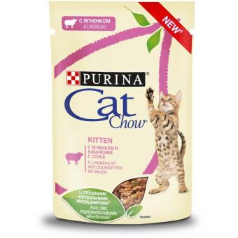 CAT CHOW / KITTEN / влажный корм для котят / ЯГНЕНОК / КАБАЧОК