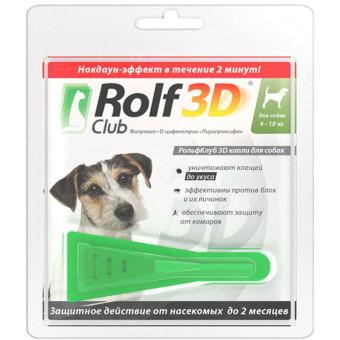 RОLF CLUB 3 D / капли от блох и клещей для собак / 4-10 кг