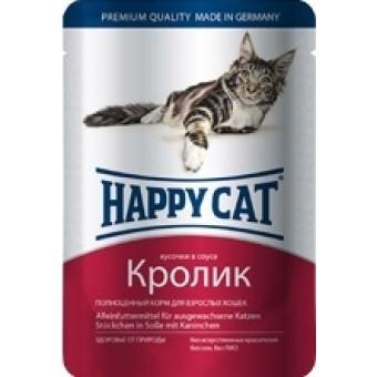HAPPY CAT / влажный корм для кошек / КРОЛИК / СОУС