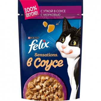 FELIX / SENSATION / влажный корм для кошек / УТКА / МОРКОВЬ / СОУС