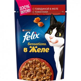 FELIX / SENSATION / влажный корм для кошек / ГОВЯДИНА / ТОМАТ