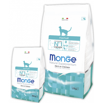 MONGE CAT / HAIRBALL / сухой корм для кошек / вывод шерсти / КУРИЦА