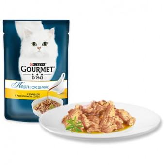 GOURMET / PERL / влажный корм для кошек / КУРИЦА / СОУС ДЕЛЮКС