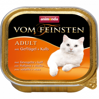 ANIMONDA / VOM FEINSTEN ADULT / влажный корм для кошек / ДОМАШНЯЯ ПТИЦА / ТЕЛЯТИНА