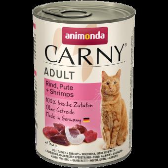 ANIMONDA / CARNY ADULT / влажный корм для кошек / ГОВЯДИНА / ИНДЕЙКА / КРЕВЕТКИ