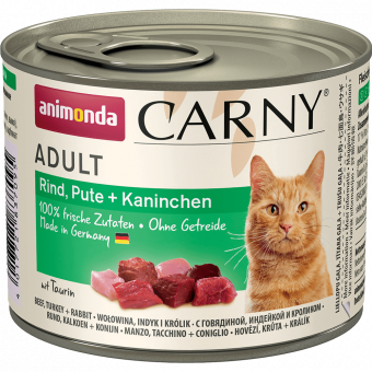 ANIMONDA / CARNY ADULT / влажный корм для кошек / ГОВЯДИНА / КРОЛИК / ИНДЕЙКА