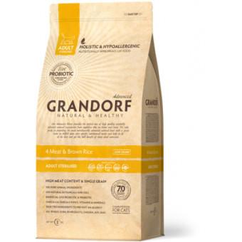 GRANDORF / STERELISED / сухой корм для стерил. кошек / УТКА / ИНДЕЙКА / КРОЛИК / ЯГНЕНОК / РИС