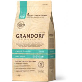 GRANDORF / INDOR / сухой корм для домашних кошек / 4 вида мяса / УТКА / ИНДЕЙКА / КРОЛИК / ЯГНЕНОК
